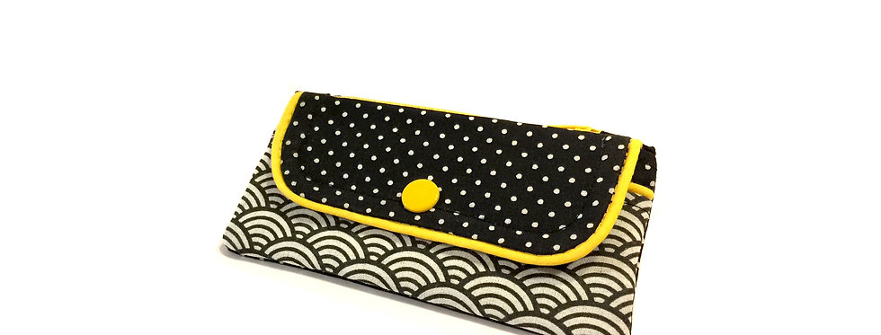 Porte monnaie, porte carte, pochette femme, pochette zippée - Seigaiha