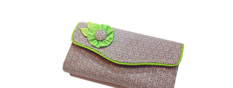 Grand portefeuille, porte chéquier, porte monnaie, porte carte - Asanoha vert