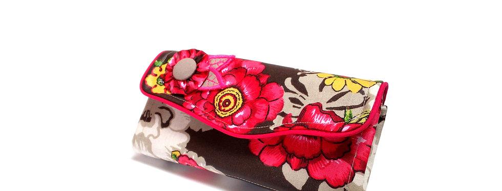 Grand portefeuille, porte chéquier, porte monnaie, porte carte - Pink flower