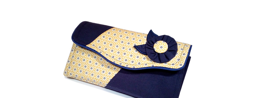 Grand portefeuille, porte chéquier, porte monnaie, carte  - Asanoha & marine