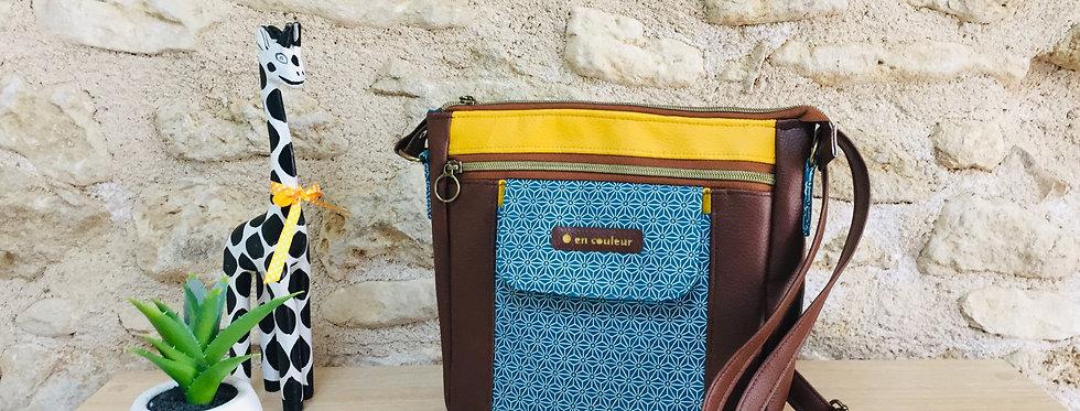 Sac à bandoulière , sac artisanal coloré et original, besace femme  - Asanoha