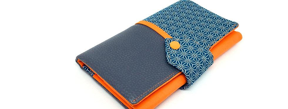 Grand portefeuille cuir, porte chéquier, porte monnaie, carte - Asanoha