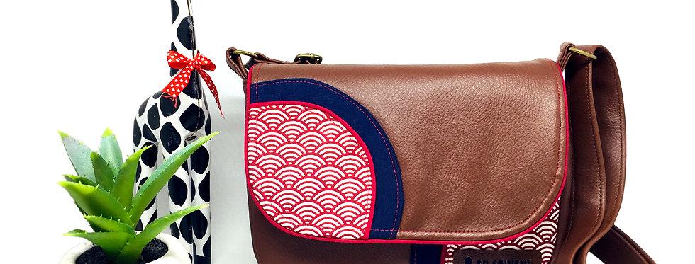 Sac à bandoulière , sac artisanal coloré et original, besace femme  -Seigaiha