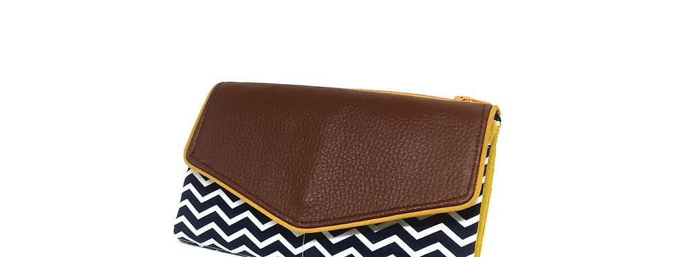 Grand portefeuille cuir, porte chéquier, porte monnaie, carte - Chevron & cuir