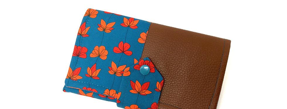Grand portefeuille cuir, porte chéquier, porte monnaie, carte - Coquelicot
