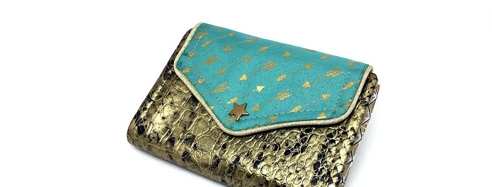 Petit portefeuille cuir, portefeuille femme, porte monnaie, carte - Flèche d'or
