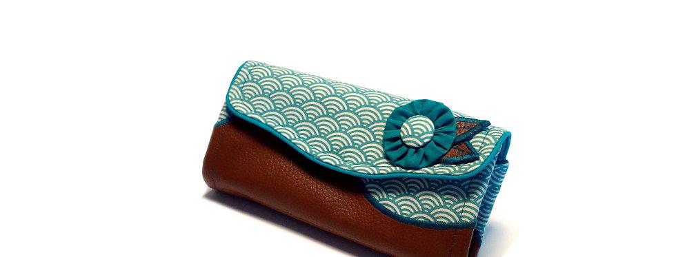 Grand portefeuille, porte chéquier, porte monnaie, porte carte - Seigaiha cuir