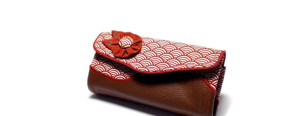 Grand portefeuille, porte chéquier, porte monnaie, porte carte - Seigaiha & cuir