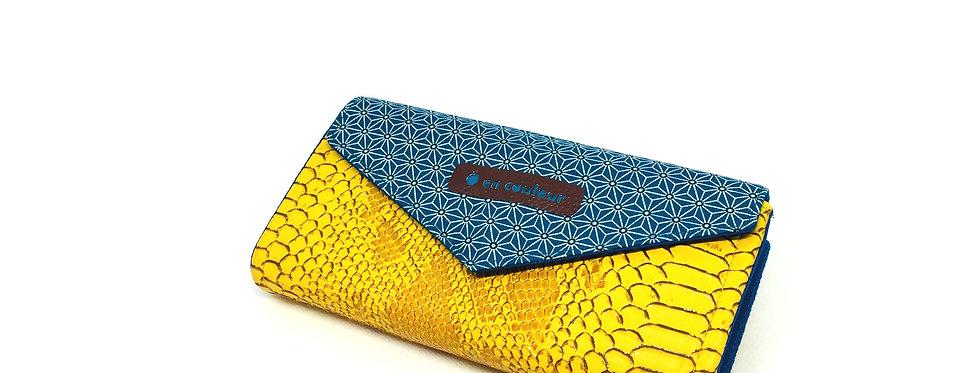 Grand portefeuille cuir, porte chéquier, porte monnaie, carte - Asanoha Aïko