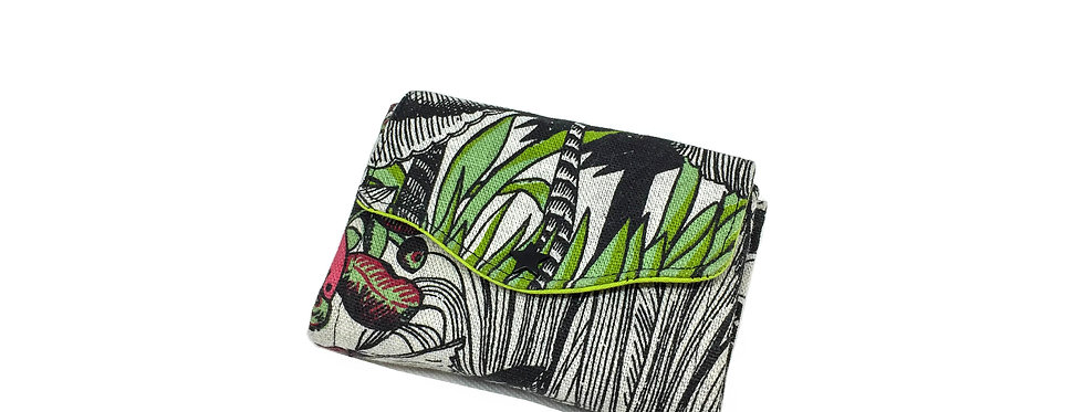 Petit portefeuille, portefeuille femme, porte monnaie, porte carte- Jungle anis