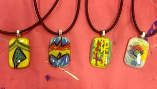 Color Field Inspired Glass Fused Pendants