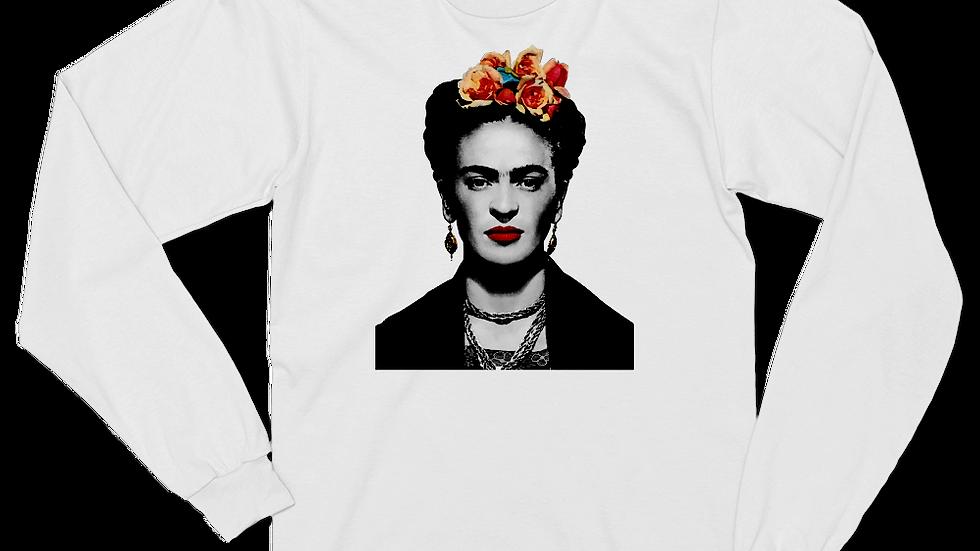 Frida Kahlo With Flowers Poster Artwork Long Sleeve Shirt