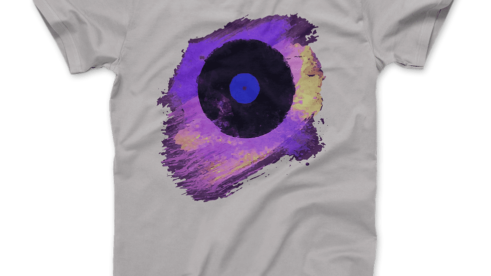 Vinyl Record Made of Paint Scattered in Purple Tones T-Shirt