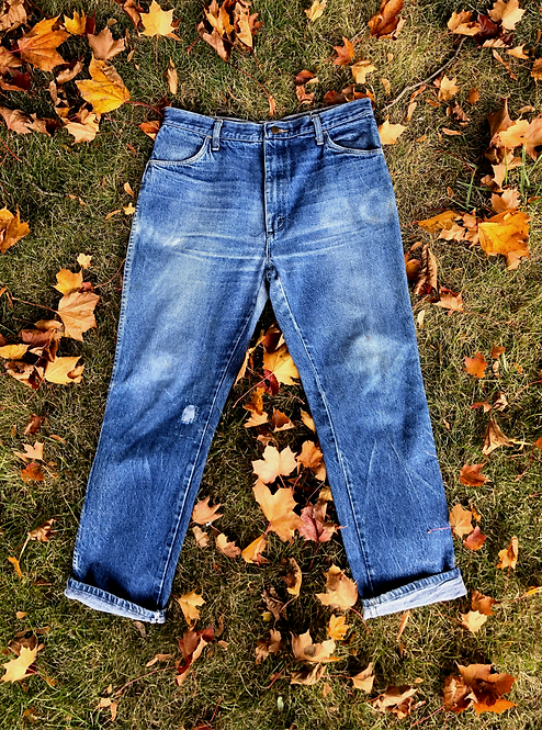 Thrashed + Patched Vintage Rustler Denim