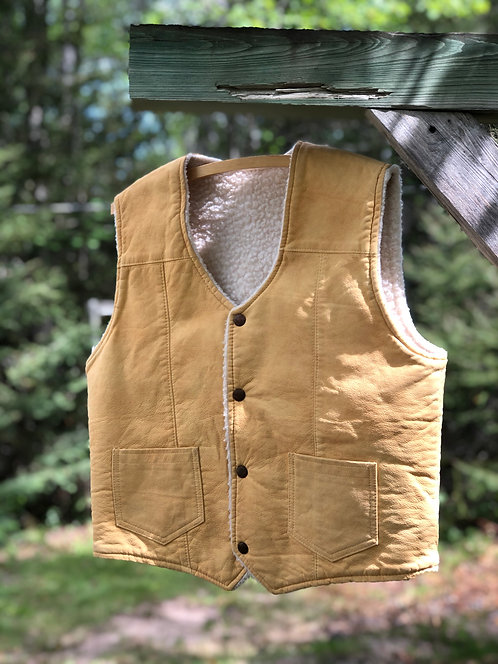 Men's Vintage Shearling Lined Leather Vest