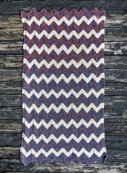 Vintage Zig Zag Hand Knit Blanket