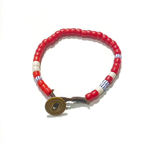 Made Solid Antique African Trade Bead Bracelet