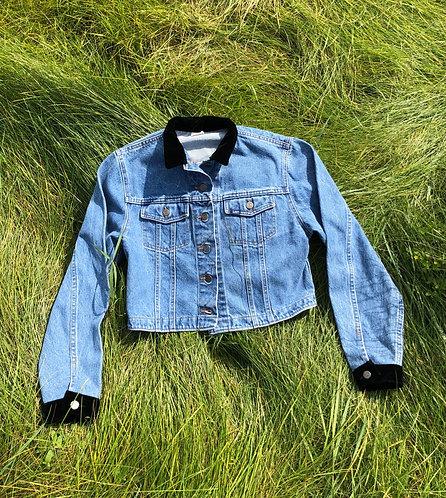 Vintage Lee Denim Jacket with Velvet Trim