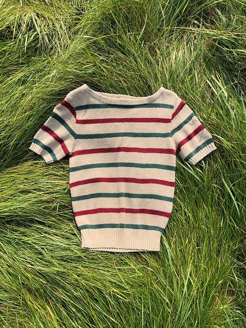 Vintage Cotton Short Sleeve Striped Sweater