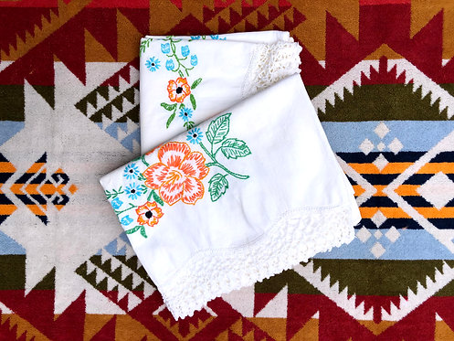 Hand Embroidered Vintage Pillow Cases