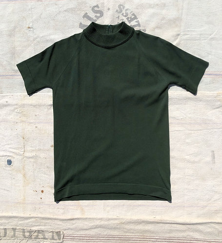 Vintage Forest Green SS Mock Neck Top