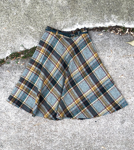 Vintage Plaid Circle Skirt