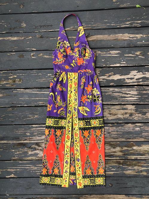 Vintage 60's Hawaiian Print Halter Dress