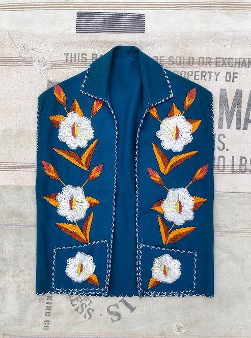 Vintage Embroidered Felt Vest
