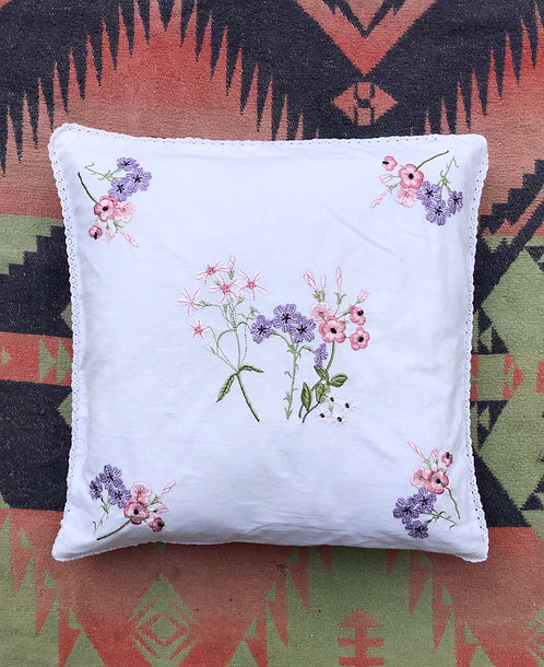 Small Vintage Embroidered Pillowcase with Insert