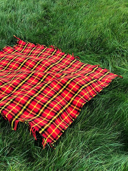 Vintage Red Plaid Camp Blanket
