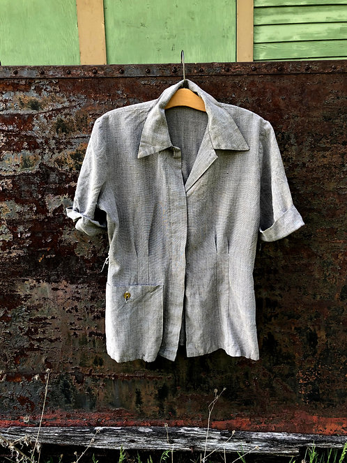 Vintage 50's Salt and Pepper Chore Blouse