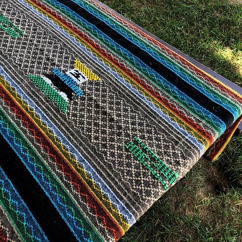 Vintage Embroidered Beach Blanket w/Fringe
