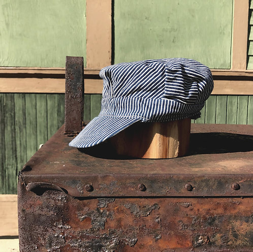 Vintage Railroad Conductor Hat, Hickory Stripe