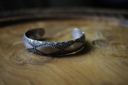 Stamped Sterling Silver Wrist Cuff Bracelet