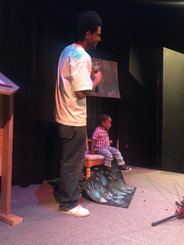 Wolf & Jacari, respond to the topic of Sugar by creating a father & son painting session with sugar.