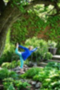 Jody in Dancer Pose in garden