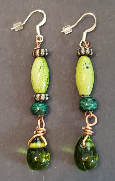 Green Earrings with Wooden/Glass Beads