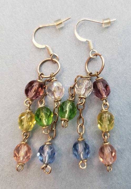 Multicolored Glass Beads Earrings