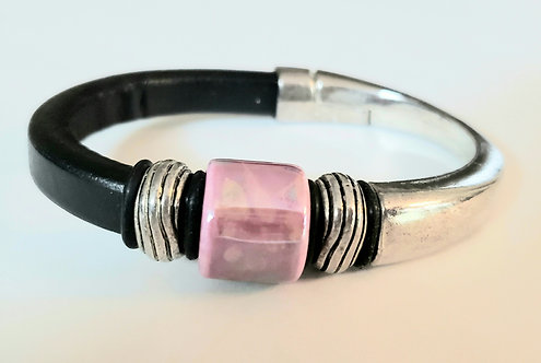 Leather and Pewter Cuff Bracelet - NEW!
