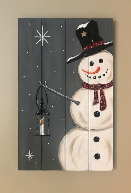 Snowman on wooden panel