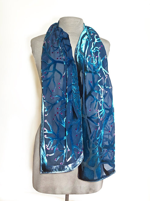 Blue Branches Small Scarf