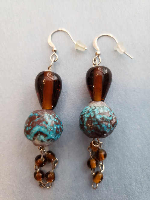 Turquoise Beads with Brown Glass Beads Earrings