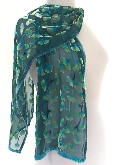 Teal Ginkgo Small Scarf