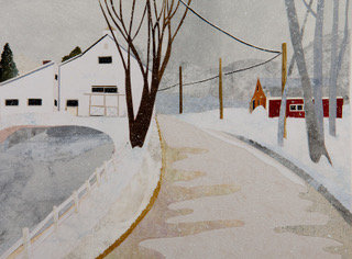 Winter Road Between Two Barns