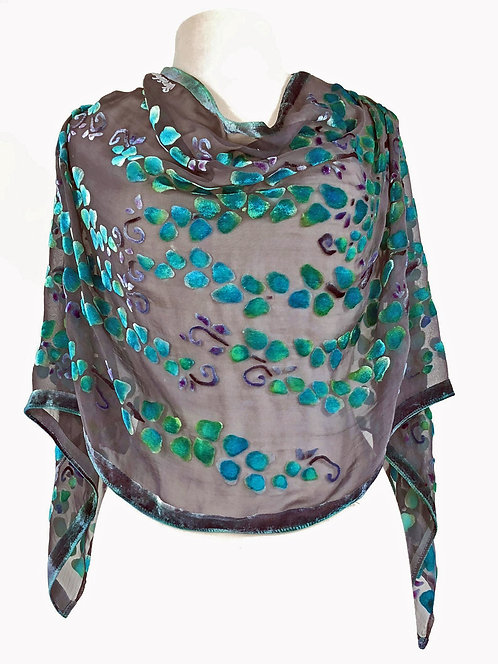 Black/Turquoise Willows Poncho