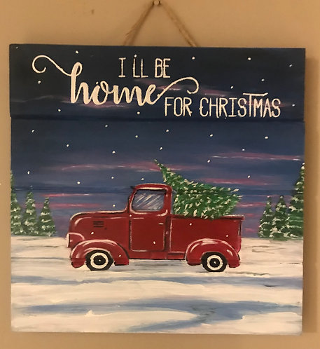 Red Truck on Wooden Panel - NEW!