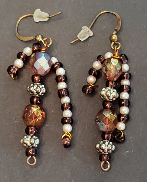Purple Glass Beads W/Copper Earrings