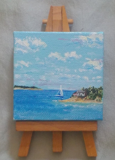 Sailboat Mini Canvas with Easel