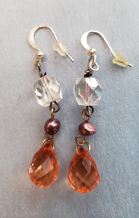 Pink and Clear Glass Crystal Earrings