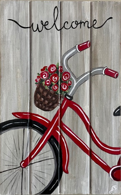 Bicycle on Wooden Panel - NEW!